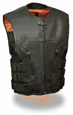 MEN'S MOTORCYCLE VEST UPDATED TACTICAL SWAT STYLE LEATHER VEST NEW BLACK