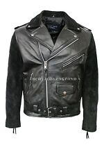 BRANDO Men's Black Suede Retro Designer Fitted Real CowHide Leather Biker Jacket
