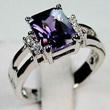 Sz5-10 Jewelry Purple Amethyst  Women's14KT White Gold Filled Engagement Ring