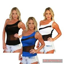 Womens NEW One Shoulder Top Shirt New Sexy Club Wear Casual Blue Black White