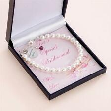 Birthstone Bracelet with Engraved Heart Charm, For Bridesmaids and Flower Girls