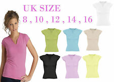 NEW LADIES T-SHIRT PLAIN SHORT SLEEVED V NECK CAUSAL TOP T-SHIRT IN UK 8-16