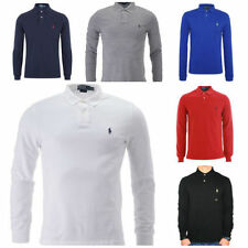 Mens Ralph Lauren Long Sleeve Polo Shirt - Custom Fit - Sizes S M L XL