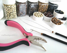 200 Silicone MICRO BEAD Feather Hair Extension PINK Plier-TOOL KIT-HOOK/LOOP-USA