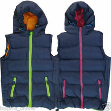 BOYS GIRLS QUILTED PADDED KIDS SLEEVELESS HOODED GILET BODYWARMER VEST COAT SIZE