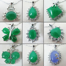 NEW Green JADE STONE Silver Tone NECKLACE PENDANT Necklaces Pendants Jewelry Set