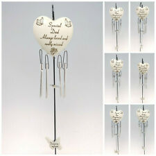 HEART WIND CHIME + HANGING CROOK MEMORIAL, GRAVESIDE TRIBUTE MUM DAD NAN SON ETC