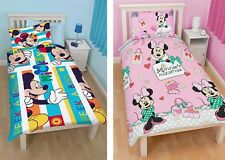 Bambini Disney Mickey Minnie Mouse Singolo Copripiumone Federe Set Camera da Letto