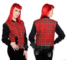 Ladies Classic Red Tartan Zip Up Short Jacket Goth Punk Emo