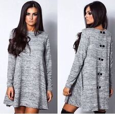 NEW WOMENS BOW BACK DIAMANTE SEQUIN KNITTED LONG SLEEVE SWING MINI DRESS 8-18