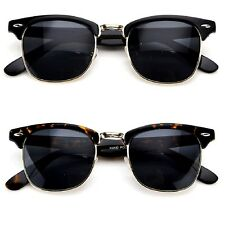 Clubmaster Style Wayfarer Half Frame Sunglasses Shades Vintage Classic Aviator