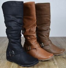 Womens New heel Boots Knee High Fashion Faux Leather Boot Stylish Shoes Size