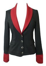 BLACK FITTED GOTHIC BUSTLE VICTORIAN RIDING JACKET WITH RED COLLAR & CUFFS