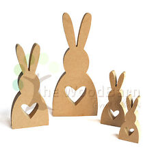 Free Standing Craft Shape. MDF Wooden HEART BUNNY FAMILY