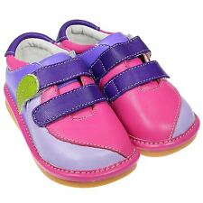 Girls Toddler Childrens Real Leather Squeaky Shoes - Pink, Hot Pink & Purple