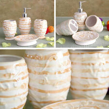 Setof4 Ceramic Bathroom Set STRIPE Bottle/Toothbrush Holder/Cup/Soap TWO COLOURS