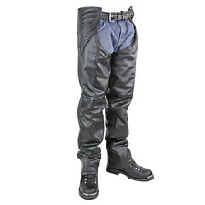 Xelement Mens Drifter Black Leather Motorcycle Chaps