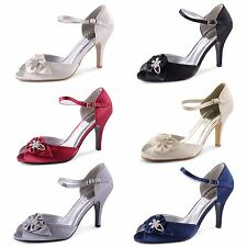 Womens Ladies Diamante Satin High Heel Wedding Bridal Peep Toe Shoes Size UK
