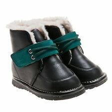 Boys Girls Toddler Childrens Leather Squeaky Boots Shoes Black with Green Trim