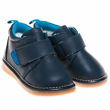 Boys Toddler Childrens Faux Leather Squeaky Boots Shoes - Navy Blue Fleece Lined