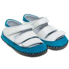 Boys Girls Infant Toddler Leather Soft Sole Baby Shoes - White & Turquoise Suede