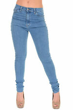 Ladies 50's 60's Rockabilly Retro High Rise Stretch Super Skinny Jeans 8 to 22