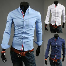 New Mens Slim Fit Dress Shirts Fashion Casual Italian Style Stylish Shirts S~XL