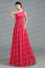 Cheap One Shoulder Long Chiffon Wedding Bridesmaid Prom Evening Dress SIze 6-18