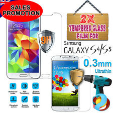 2X Tough Tempered Glass Screen Protector Film Guard for Samsung Galaxy S4 S5