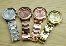 Geneva Women Girl Men 3 Small Dials Steel Metal Strap Quartz Wrist Watch Watches