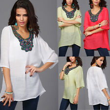 Fashion Women's Lady Short Sleeve V Neck Tee Shirt Casual Loose Blouse Tops
