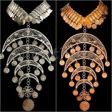 XLarge Egyptian Hand Made Belly Dance Crescent Necklace Choker Tribal Jewelry