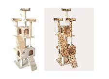 "73"" Cat Tree Condo Furniture Scratch Post Pet House Beige/Beige Paws caves"