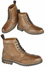 RT Mens Real Leather Hi Top Ankle Boots Italian Casual Brogue Shoes Size
