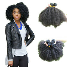 100% Virgin Afro Kinky Curly Human Mongolian Hair Extension Weave  7A Black #2