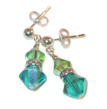 TEAL & PERIDOT GREEN Crystal Earrings Dangle Sterling Silver Swarovski Elements