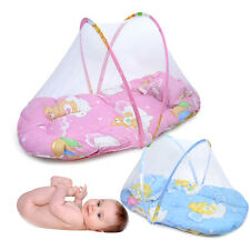 Portable Baby Bed Crib Folding Mosquito Net Infant Cushion Mattress Pillow