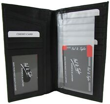 New Paul & Taylor Mens or Womens Leather Checkbook Holder Credit Card Wallet