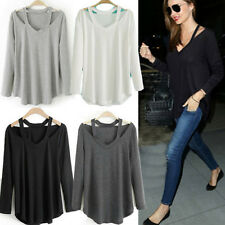 Women's Lady Cotton Long Sleeve V Neck Loose Casual T-Shirt Tee Tops Blouse