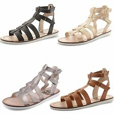 Womens Ladies Gladiator Strappy Sandals Flat Heel Summer Cut Out Shoes Size UK