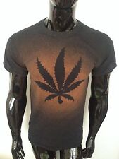 CANNABIS WEED LEAF T SHIRT MENS WOMENS HIGH GANJA SPLIFF RASTA DOPE ACID WASH