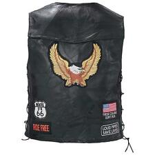 Genuine Buffalo Leather Biker Motorcycle Chopper Vest - Multiple PATCHES