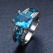 Sz 6/7/8/9/10 Aquamarine Sapphire Engagement Ring Jewelry 10KT White Gold Filled