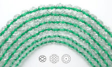 "Czech Fire Polished Round Faceted Beads in Crystal Green Lined, 16"" strand"