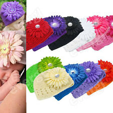 hot 2015 Baby Infant Toddler Hand Crochet Beanie Hat + Daisy Flower Clip fwqa5s