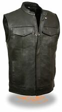 Men's SOA Leather Vest w/ Zipper & Snap Front Dual Side Concealed Weapon Pockets