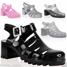 LADIES WOMEN GIRLS RETRO JELLY SANDAL CUT OUT STRAPY GLADIATOR CHUNKY HEEL SHOES