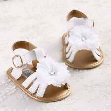 HOT Newborn Pretty White FLOWER Baby Girl Soft Sole Toddler Crib Shoes Sandals