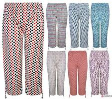 New Womens Trousers Ladies Plus Size Capri Pants Cropped Stretch PJS 8-16