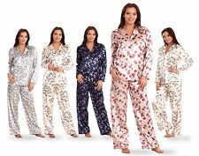 Ladies Printed Satin Pyjamas Floral  Butterfly Grey Womens Pink Nightwear PJ's